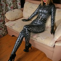 Catsuit made of Leo Silver on Black Textured latex