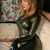 Catsuit made of City Gold Textured latex