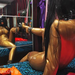 Rubber Zina in the bedroom