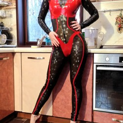 Video: Textured Latex Catsuit