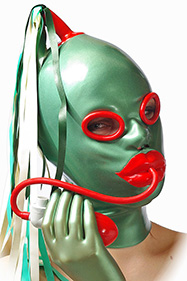 Eyes: Small oval rings, Big lips and inflatable mouth gag QL0105, Horsetail