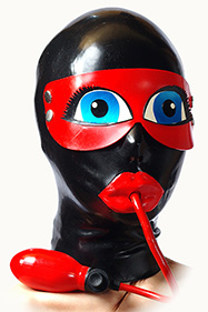 Shigenary type blindfold, oval eyes, Big lips and inflatable mouth gag QL0105