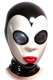Pierrot mask white, Oval big mirror eyes, Simple mouth