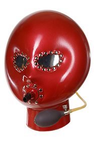 Inflatable mask, oval mirrored eyes with clasps, Breathing tube with clasps