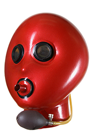 Inflatable mask, Round edged mirror eyes, Breathing tube with contrast edge